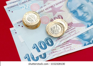 Turkish lira banknotes and coins, macro shot.