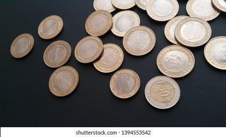 Turkish Lira Coins Black Background