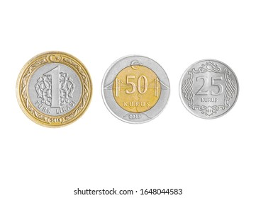 Turkish Lira coins collection set isolated on white background.
