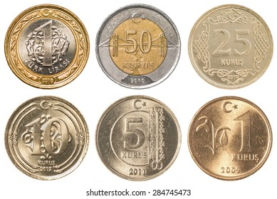 Turkish Lira coins collection set isolaten on white background