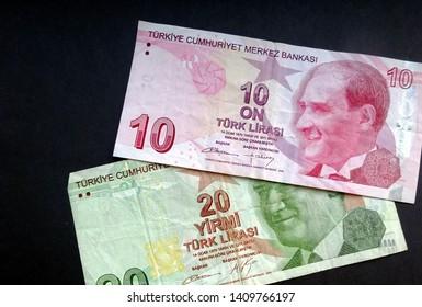 Turkish lira - currency of Turkey, Turkish liras bills (turk lirasi)