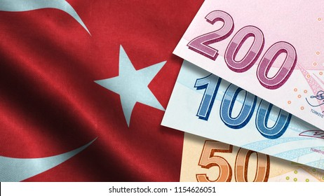 Turkish Lira with Turkish Flag