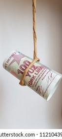 Turkish Lira Hanging on String