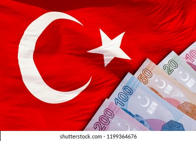 Turkish Lira money currency and Turkish flag
