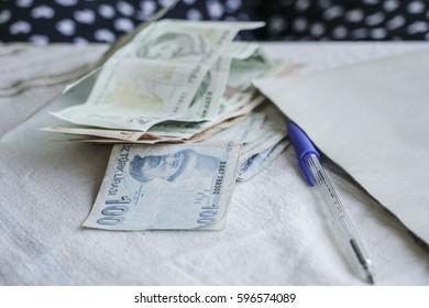 turkish lira on table