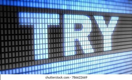 Turkish lira sign on the Screen. 3D Illustration.