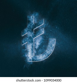 Turkish Lira Symbol. Turkish Lira Sign. Monetary currency symbol. Abstract night sky background.