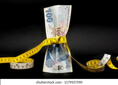 Turkish lira is tightened with measurement tape. Turkey's lira crisis. Turkish lira is going down and losing weight. Turkish economy plunges, crashing. Inflation, debt and tariffs concept.