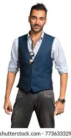 Turkish macho man model posing isolated on white background