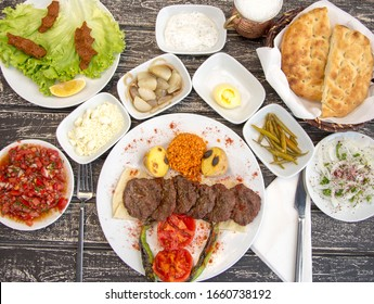 Turkish meatballs and appetizer plates