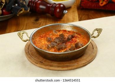 Turkish Menemen - Egg, tomatoes and pepper in pan