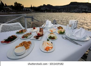 Turkish Meze Table Setup at Sunset