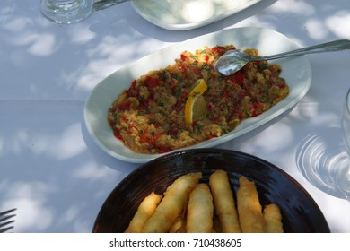 Turkish mezes appetizers of cigar kofta, cajik and esme salad, Ephesus, Turkey
