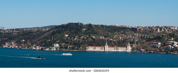 Turkish military submarine passing through the Bosphorus in front of Kuleli Military School. The photo taken from Istanbul's 15 July Martyrs Bridge on April 4, 2018, Turkey.