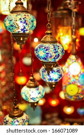 Turkish multicolor lamps in the Grand Bazaar , Istanbul