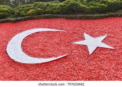 Turkish National flag made with pebble stones - Mausoleum of Ataturk, Ankara, Turkey