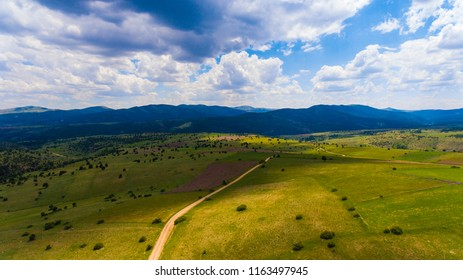 Turkish natural green mountains. Aerial photograpyh. Sivas city.