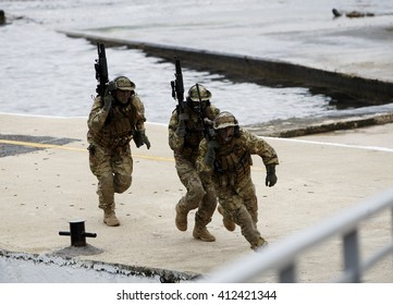 Turkish navy seal on practice in Istanbul, Turkey, 15 March 2015