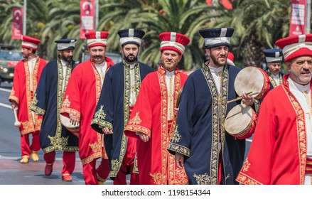 Turkish Ottoman Military Band march for Military parade at Turkish 30 August Victory day in Istanbul,Turkey.30 August 2018