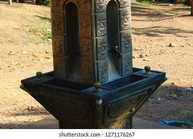 Turkish Ottoman style water tap. History of the Ottoman fountain.