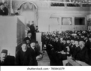 Turkish Parliament in session, near the end of the short Second Constitutional Era, 1908-1912. After the 1913 coup d_tat by the Young Turks dictatorship, the Parliament and the Sultan lost all meaning