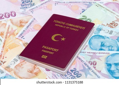 Turkish Passport with Turkish Liras Background , TURKEY