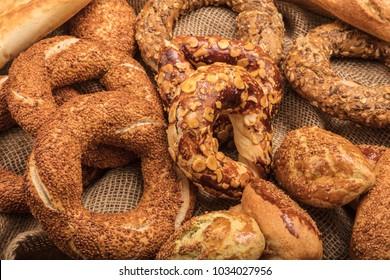 Turkish Pastries; pogaca, borek, acma, ay coregi at patisserie showcase