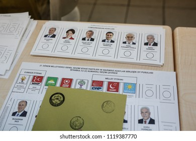 Turkish people cast their vote for the Turkish presidential and parliamentary elections at a polling station in Istanbul, Turkey, 24 June 2018