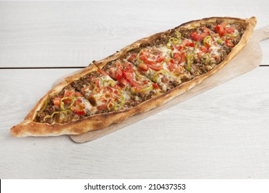 Turkish pide beef and cheese pita