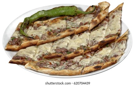 Turkish pide with cheese and cubed meat / kusbasili kasarli pide.