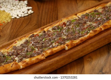 Turkish Pide with meat - Turkish pizza