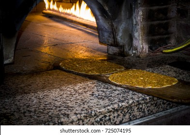 turkish pita, lahmacun baked in stone oven