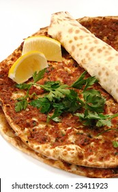 turkish pizza with lemon called lahmacun
