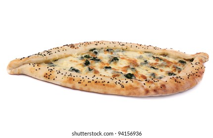 Turkish pizza over white