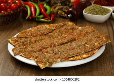 Turkish pizza - Turkish pide with minced meat, meat and cheese
