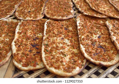 Turkish pizza with spicy mince (lahmacun). Traditional flavors