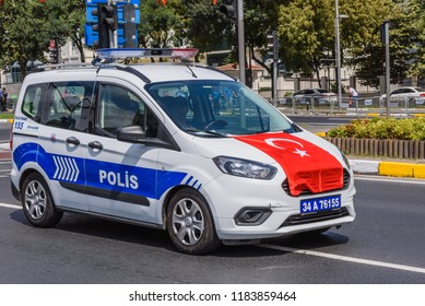 Turkish police cars parade at Turkish 30 August Victory day.Soldiers in formation in Istanbul,Turkey.30 August 2018