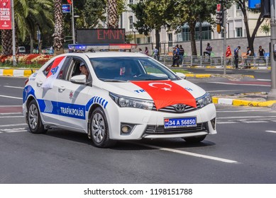 Turkish police traffic cars parade at Turkish 30 August Victory day.Soldiers in formation in Istanbul,Turkey.30 August 2018