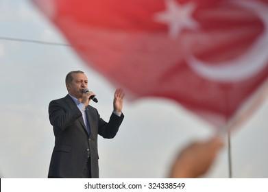 Turkish President Recep Tayyip Erdogan speaks at peace rally held in Istanbul, 20 September 2015 , Turkey , Istanbul.