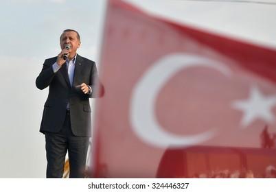 Turkish President Recep Tayyip Erdogan speaks at peace rally held in Istanbul, 20 September, 2015, Turkey, Istanbul