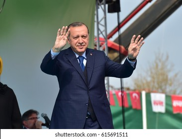 Turkish President Recep Tayyip Erdogan speaks at  referendum meeting 5 April  2017 Turkey , Bursa.
