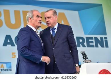 Turkish President Recep Tayyip Erdogan speaks at  referendum meeting 5 April  2017 Turkey , Bursa.