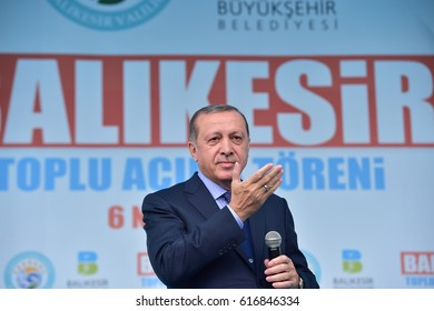 Turkish President Recep Tayyip Erdogan speaks at  referendum meeting 6 April  2017 Turkey , Balikesir.