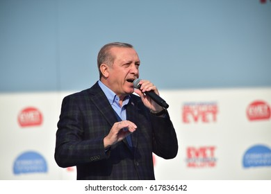 Turkish President Recep Tayyip Erdogan speaks at  referendum meeting 8 April  2017 Turkey , Istanbul.