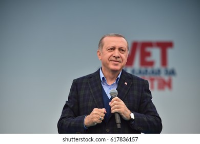 Turkish President Recep Tayyip Erdogan speaks at  referendum meeting 8 April  2017 Turkey , Istanbul.