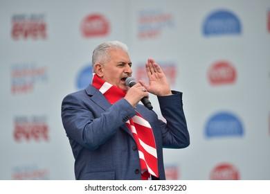 Turkish Prime Minister Binali Yildirim will speak at  a referendum meeting on 8 April 2017 Turkey, Istanbul.