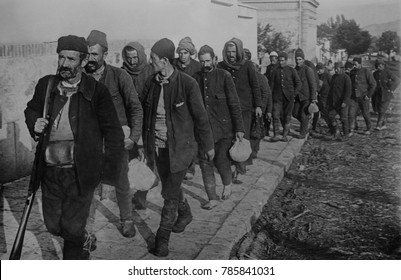 Turkish prisoners, led by an armed guard, enter Vrania, Serbia. During the First Balkan War, 1912-1913, Bulgaria, Serbia, Greece and Montenegro, united in the Balkan League, to push the weakened Ottom