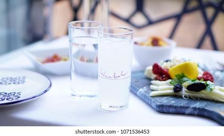 Turkish rak greek ouzo with meze table