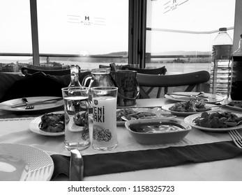 Turkish raki. Traditional raki table. The famous Turkish drink. Turkish mezes and landscapes. Akol Hotel Restaurant. Canakkale. Turkey. July 2017.