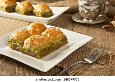 Turkish Ramadan Dessert Baklava with concept background
